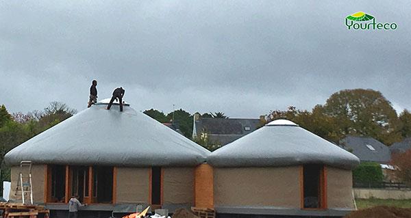 Chantier d'isolation pour yourte RT 2012