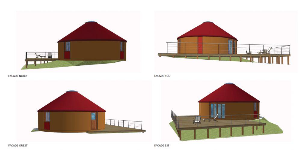 Plan des façades de yourte pour permis de construire