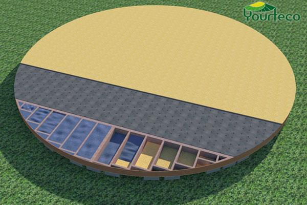 Plancher sous façade en OSB de yourte
