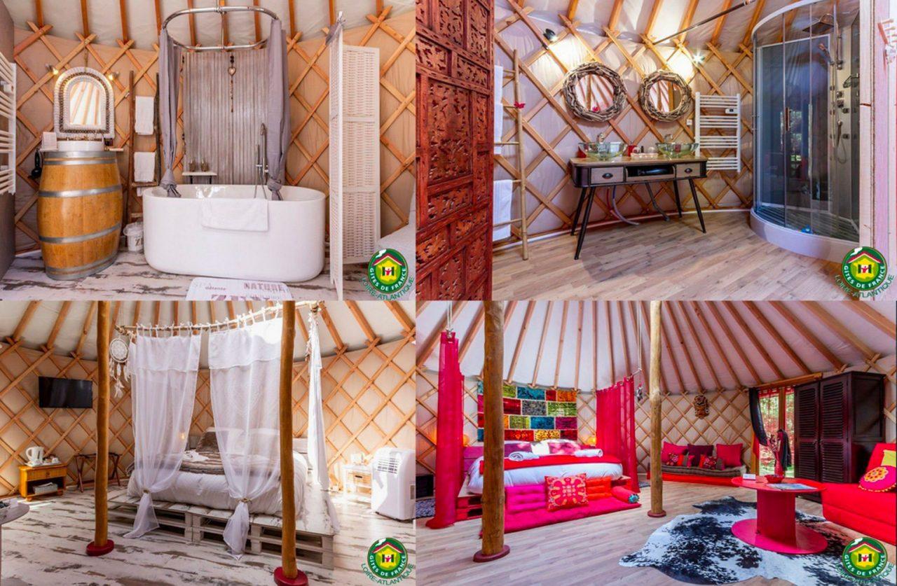 Chambre à coucher et salle de bain de yourte contemporaine