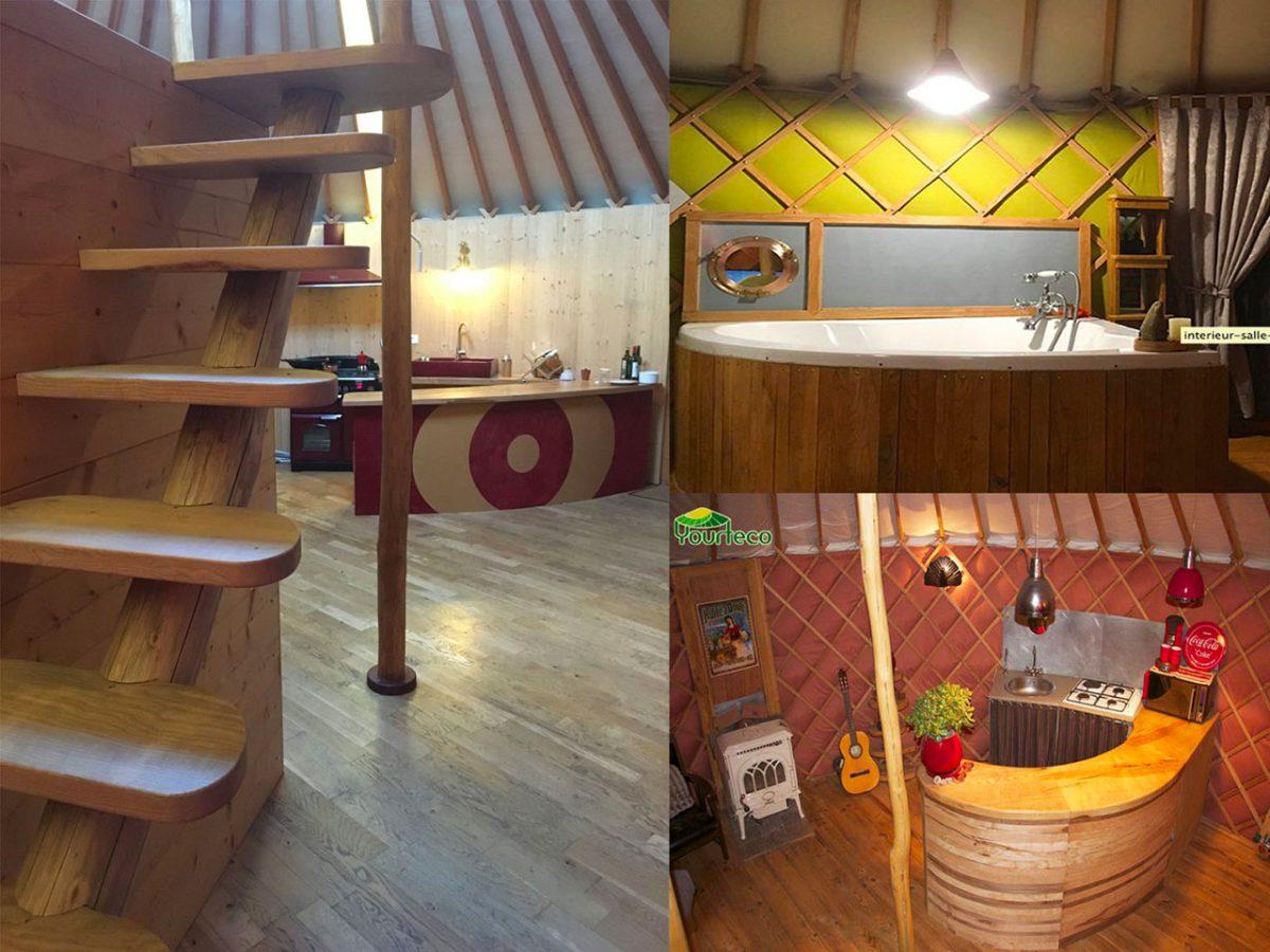 Cuisine et salle de bain de yourte contemporaine