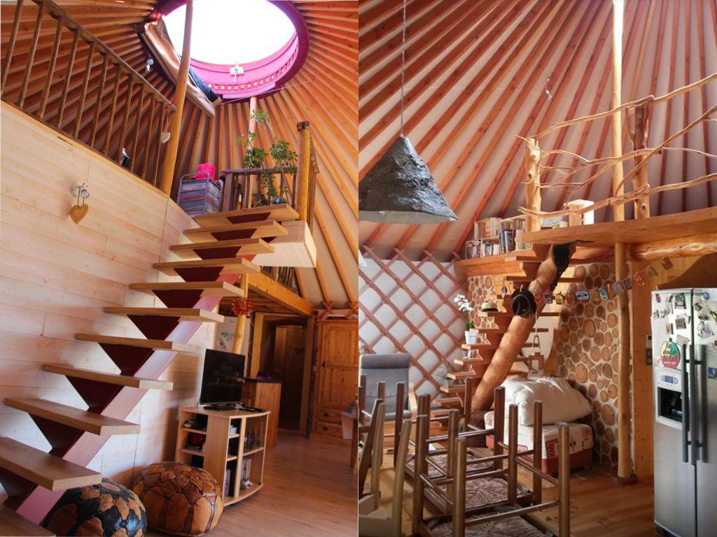 Intérieur yourte contemporaine avec escaliers en bois