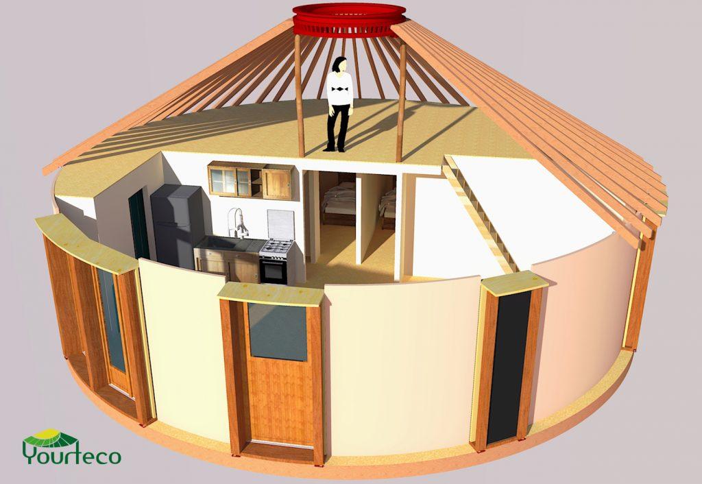 Visualisation plan yourte en bois